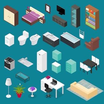 Conjunto de elementos de móveis, vista isométrica, estilo moderno