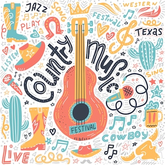 Conjunto de elementos de música country para banners do festival