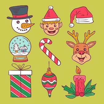 Conjunto de elementos de natal com ilustrações desenhadas à mão