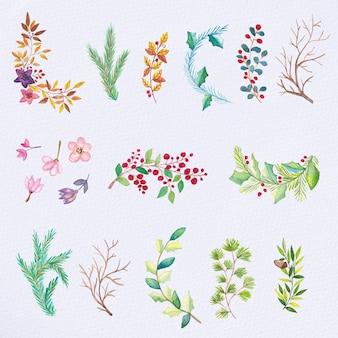Conjunto de elementos de natal de aquarela