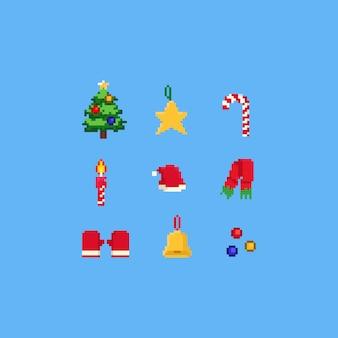 Conjunto de elementos de natal de pixel