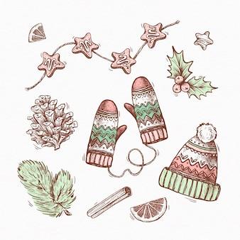 Conjunto de elementos de natal desenhado à mão