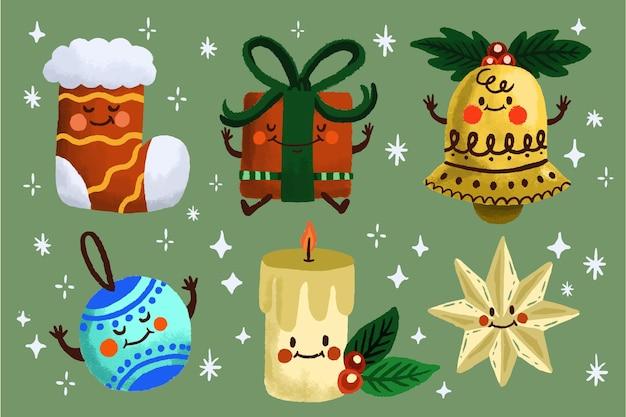 Conjunto de elementos de natal desenhados à mão