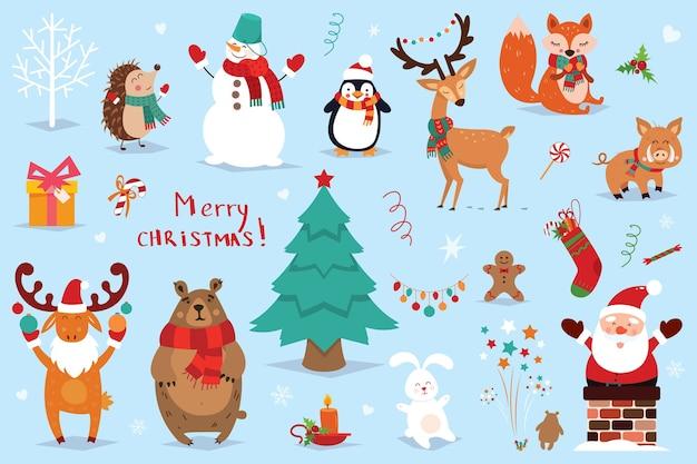 Conjunto de elementos de natal e ano novo com animais e papai noel.
