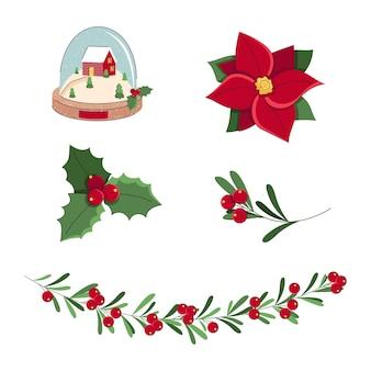 Conjunto de elementos de natal e ano novo com flor vermelha, poinsétia, azevinho, folhas, globo de neve