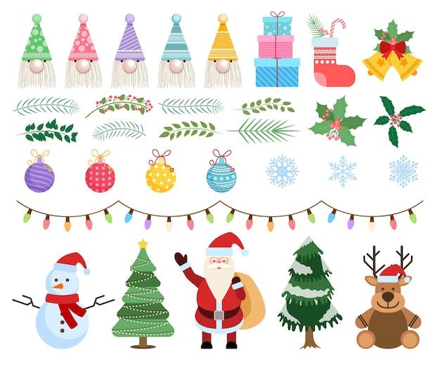 Conjunto de elementos de natal e ano novo com papai noel, boneco de neve, veado, árvore de peles e outros