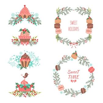 Conjunto de elementos de natal e ano novo