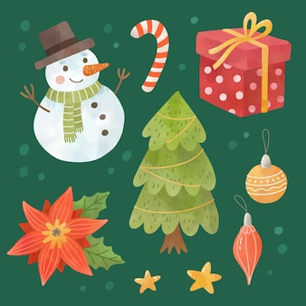Conjunto de elementos de natal em aquarela de ano novo