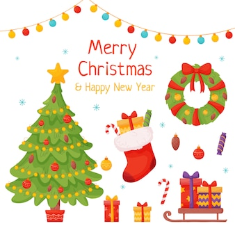 Conjunto de elementos de natal. flocos de neve, árvore, presentes, doces, inscrição, meia de natal e outros elementos em fundo branco.
