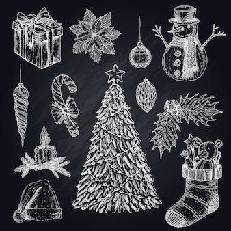 Conjunto de elementos de natal no quadro-negro