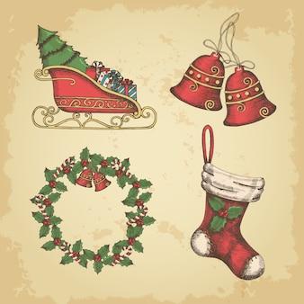 Conjunto de elementos de natal vintage mão desenhada