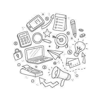 Conjunto de elementos de negócios e finanças desenhado à mão