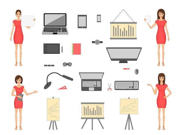 Conjunto de elementos de negócios e meninas em um vestido. laptop e tablet para desenho