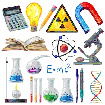 Conjunto de elementos de objetos e fórmulas científicos