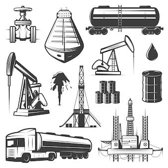Conjunto de elementos de óleo de extração vintage