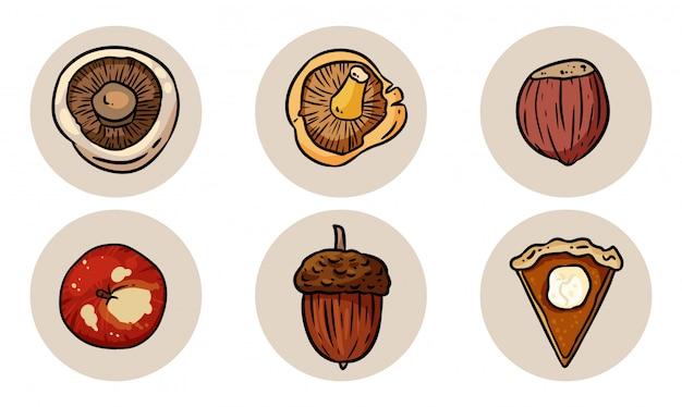 Conjunto de elementos de outono bonito dos desenhos animados.