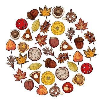 Conjunto de elementos de outono bonitos doodles em uma composição redonda