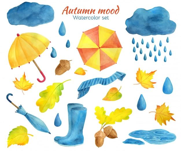 Conjunto de elementos de outono em aquarela