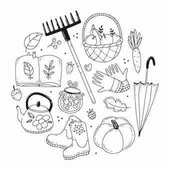 Conjunto de elementos de outono em estilo doodle na forma de uma ilustração circular isolada no fundo