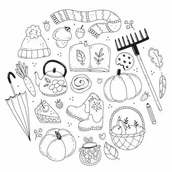 Conjunto de elementos de outono em estilo simples de doodle em forma de círculo ilustração aconchegante outono