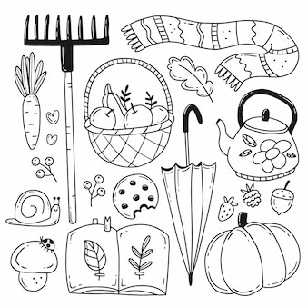 Conjunto de elementos de outono em simples estilo doodle ilustração em preto e branco isolado no fundo