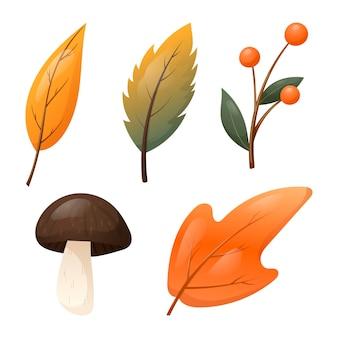 Conjunto de elementos de outono isolados do vetor. folhas caídas de laranja secas de árvores, um cogumelo da floresta e um galho com bagas.