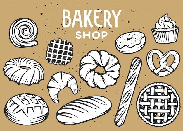 Conjunto de elementos de padaria gravados para logotipo ou crachás