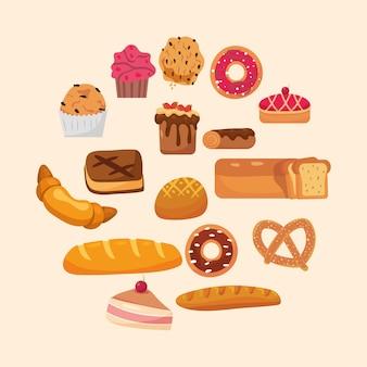 Conjunto de elementos de padaria