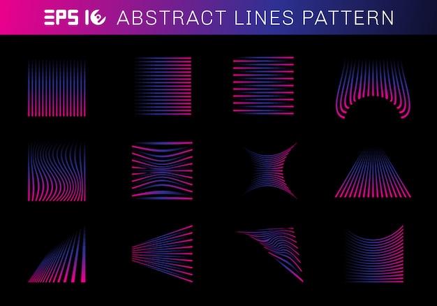Conjunto de elementos de padrão de linhas abstratas azul e rosa
