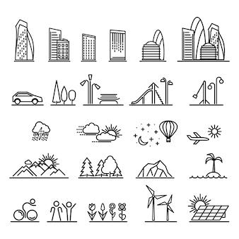 Conjunto de elementos de paisagem da cidade e edifícios em ícones lineares