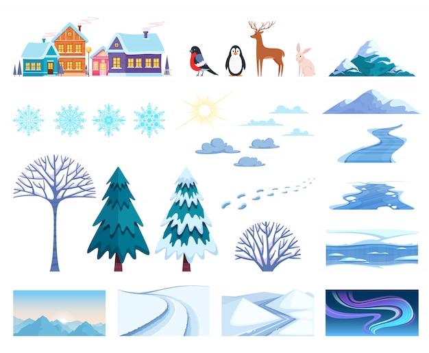 Conjunto de elementos de paisagem de inverno