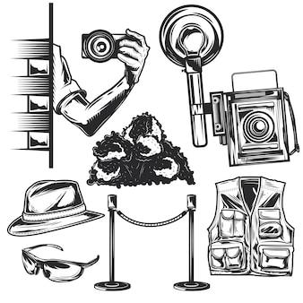 Conjunto de elementos de paparazzi para criar seus próprios emblemas, logotipos, etiquetas, pôsteres etc.