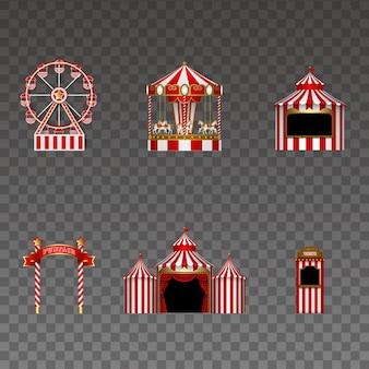 Conjunto de elementos de parque de diversões isolado carrossel roda gigante barraca quadro indicador circo e cabine