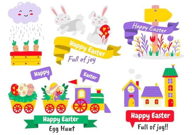 Conjunto de elementos de páscoa com ovos pintados e animais. feliz páscoa