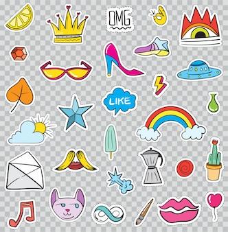 Conjunto de elementos de patches como flor, coração, coroa, nuvem, lábios, correio, diamante, olhos. desenhado à mão . coleção de adesivos na moda bonito. doodle pop art esboço emblemas e pinos.