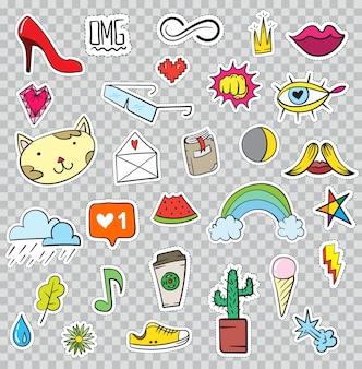 Conjunto de elementos de patches como flor, coração, coroa, nuvem, lábios, correio, diamante, olhos. vetor de mão desenhada. coleção de adesivos elegantes na moda. doodle pop art sketch emblemas e alfinetes.