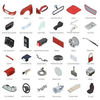 Conjunto de elementos de peças de carro, estilo isométrico