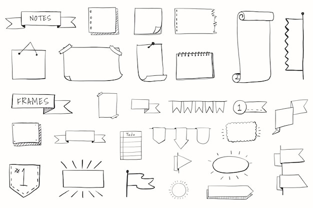 Conjunto de elementos de pensamento visual desenhado à mão