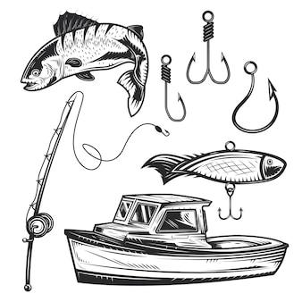 Conjunto de elementos de pesca para criar seus próprios emblemas, logotipos, etiquetas, pôsteres etc.