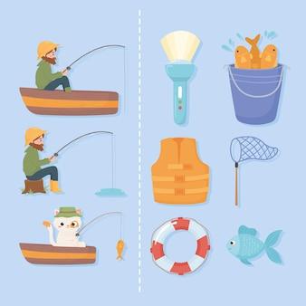 Conjunto de elementos de pesca