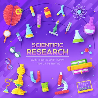 Conjunto de elementos de pesquisa científica sobre fundo abstrato roxo.