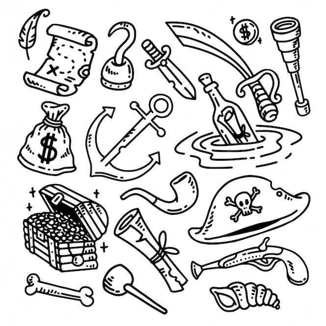 Conjunto de elementos de pirata desenhada de mão