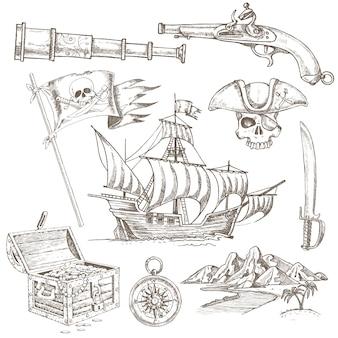 Conjunto de elementos de pirata desenhados à mão