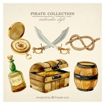 Conjunto de elementos de pirataria aquarela