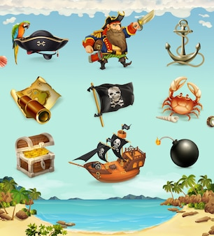 Conjunto de elementos de piratas.