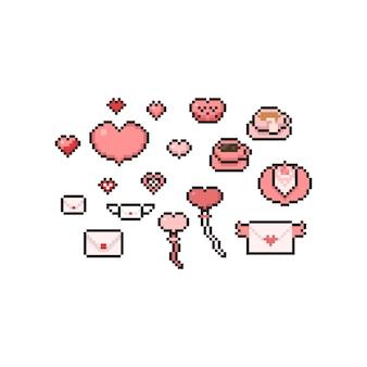Conjunto de elementos de pixel art dos desenhos animados dia dos namorados.