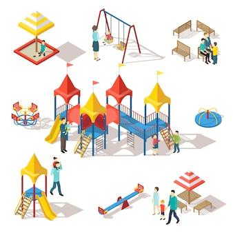 Conjunto de elementos de playground isométrico colorido