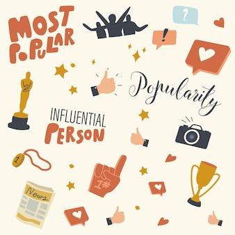 Conjunto de elementos de popularidade e fama