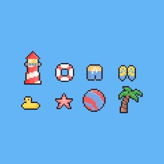 Conjunto de elementos de praia de verão pixel. 8 bits