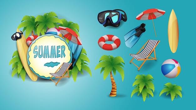 Conjunto de elementos de praia e logotipo